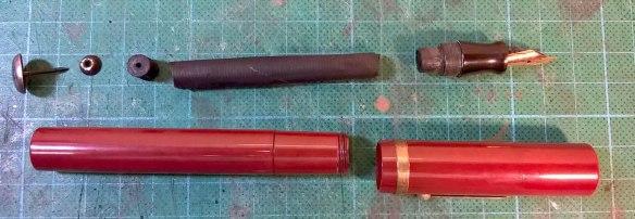 Charles H Ingersoll Dollar Pen red bakelite disassembled